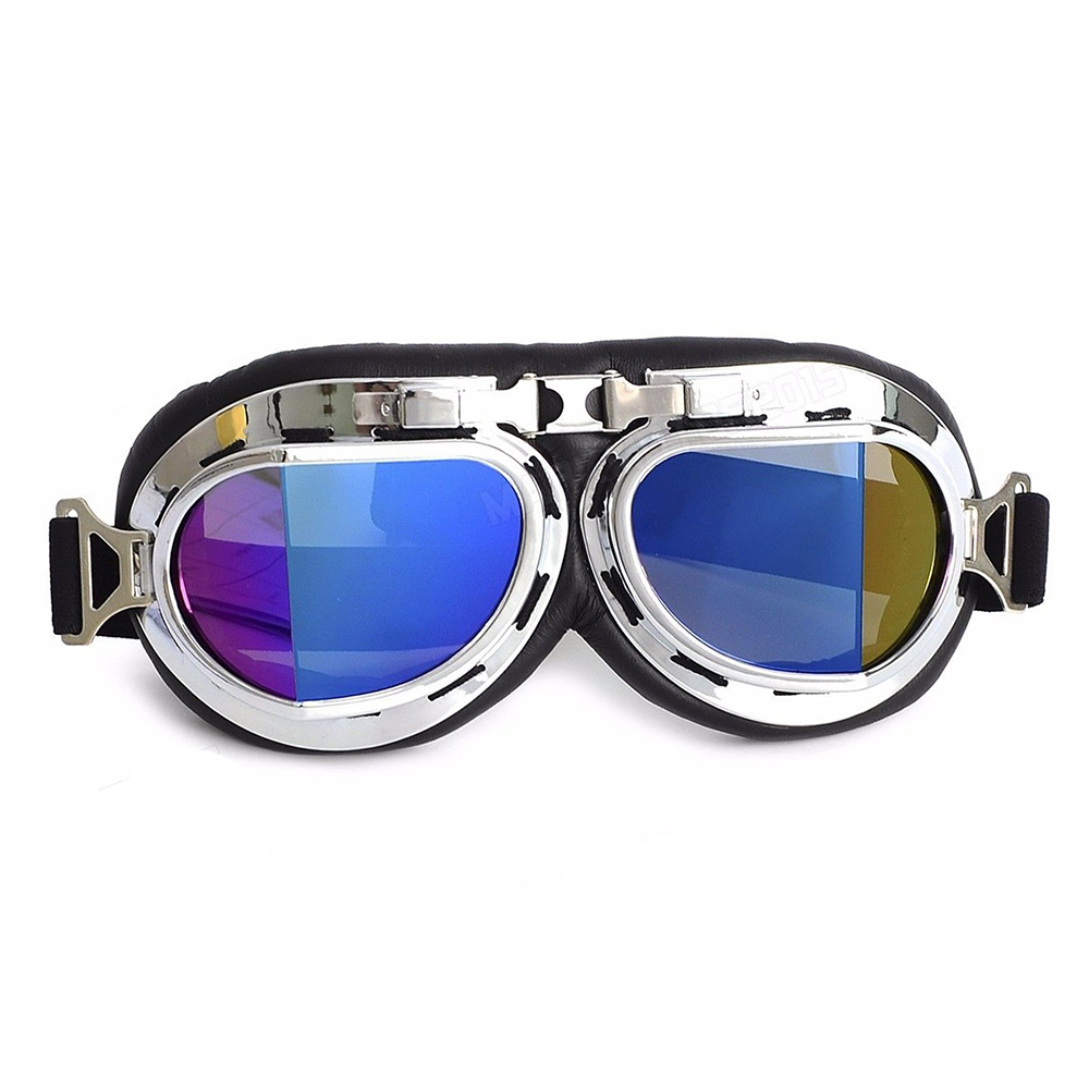Ediors Vintage Style WWII RAF Pilot Flying Motorcycle Biker Motocross Cruisers Sun UV Wind Eye Protect Helmet Goggles (Chrome Frame, Multi-color Lens)