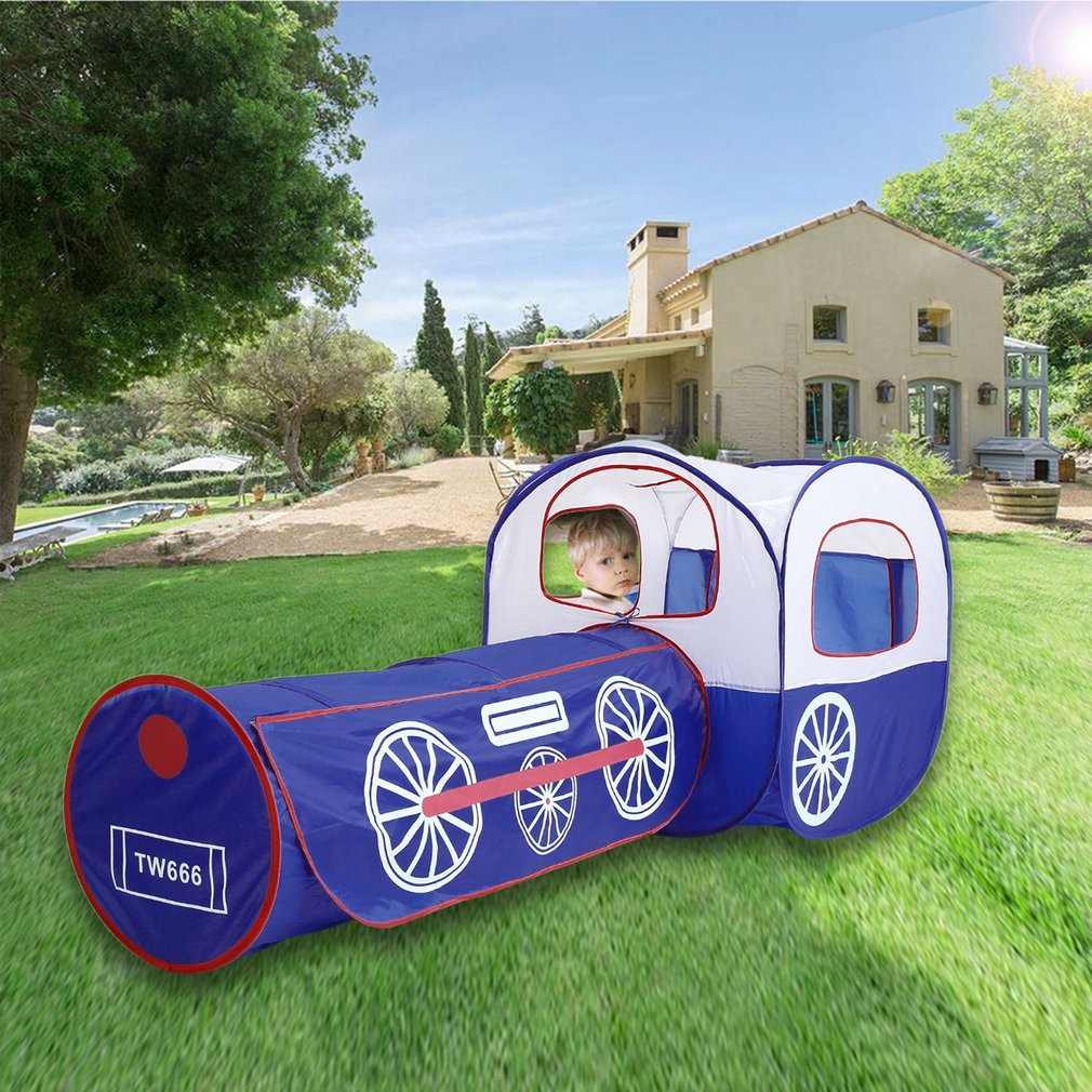 Foldable 2 In 1 Cartoon Train Pop-Up Play Tent Tunnel Kid Play Game House & Foldable 2 In 1 Cartoon Train Pop-Up Play Tent Tunnel Kid Play ...