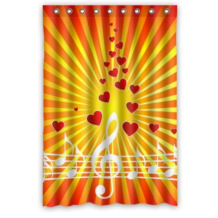 WOPOP Modern Artistic Music Notes And Red Hearts Shower Curtain Waterproof Polyester Fabric Bathroom 48x72 Inch