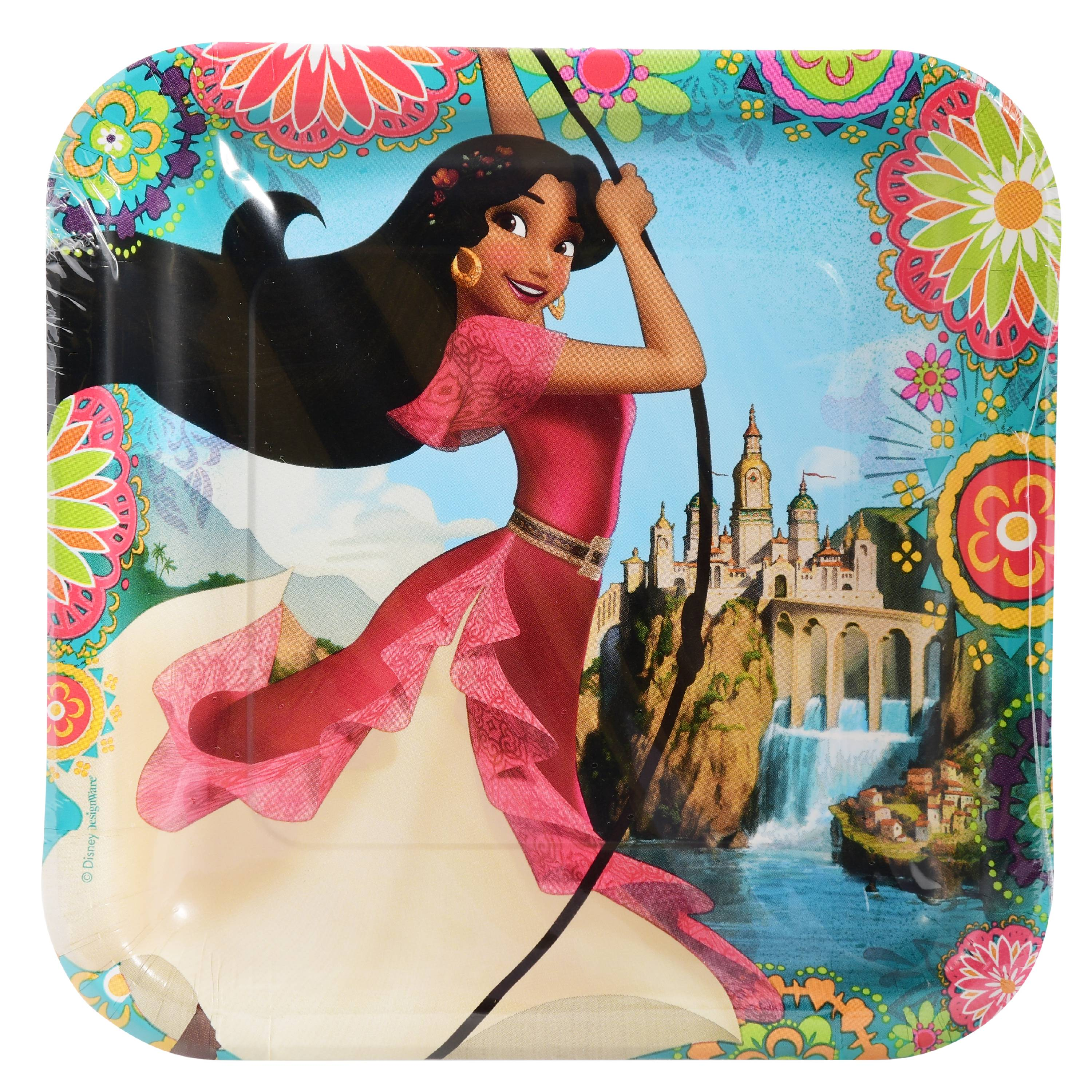 """9"""" Elena of Avalor Square Paper Party Plate, 8ct by American Greetings"""