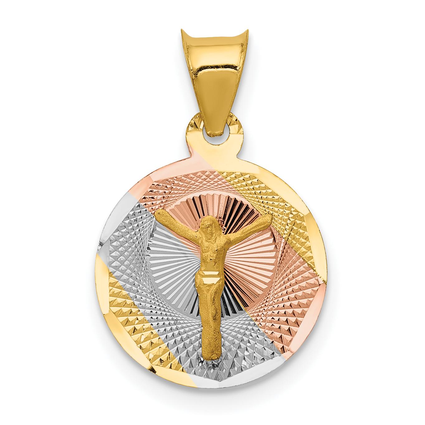 14K Rhodium Plated Yellow Gold & Rhodium Polished & Diamond Cut CORPUS Circle Pendant - image 2 de 2