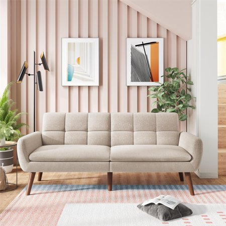 Convertible Futon Sofa Bed, 3 Angles Adjustable Recliner Couch for Living Room, Twin Size Loveseat Modern Sleeper Sofa with Armrests, Upholstery Fabric Fold Up and Down Recliner Couch, Beige