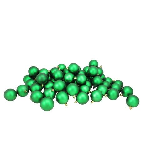 60ct Xmas Green Shatterproof Matte Christmas Ball Ornaments 2.5