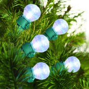 Holiday Time LED Glass G15 Light Set Green Wire Iridescent Iridescent Transparent Cool White ,70 Count