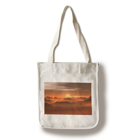 Sunset Over Mountain Peaks - Lantern Press Photography (100% Cotton Tote Bag - Reusable)
