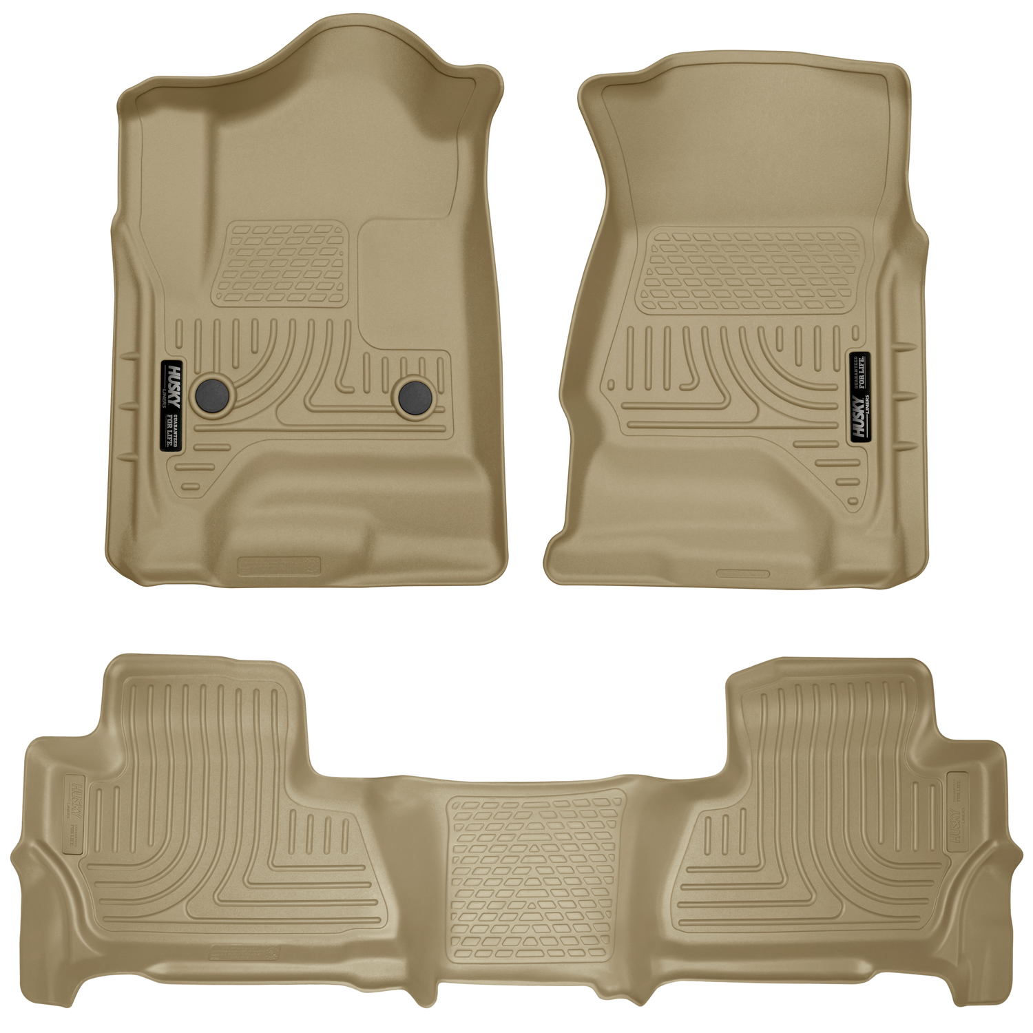 Husky Liners Front & 2nd Seat Floor Liners Fits 15-18 Tahoe/Yukon - TAN