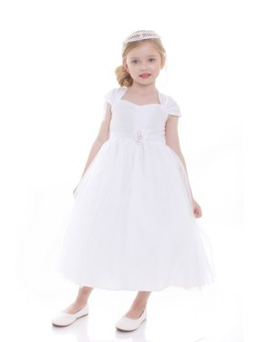 e5455e49cabf Product Image Girls White Poly Dupioni Satin Brooch Flower Girl Dress. Precious  Kids