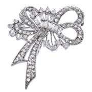 CZ PIN1059 C.Z. Diamond Silver Forget Me Not Ribbon Bow Pin Brooch