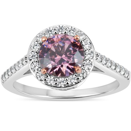 8deab1cd7 7 mm Pink Round Swarovski Cubic Zirconia Sterling Silver Two Tone Rhodium  And 18kt Rose Gold Plated Filigree Shank Halo Ring Size 7