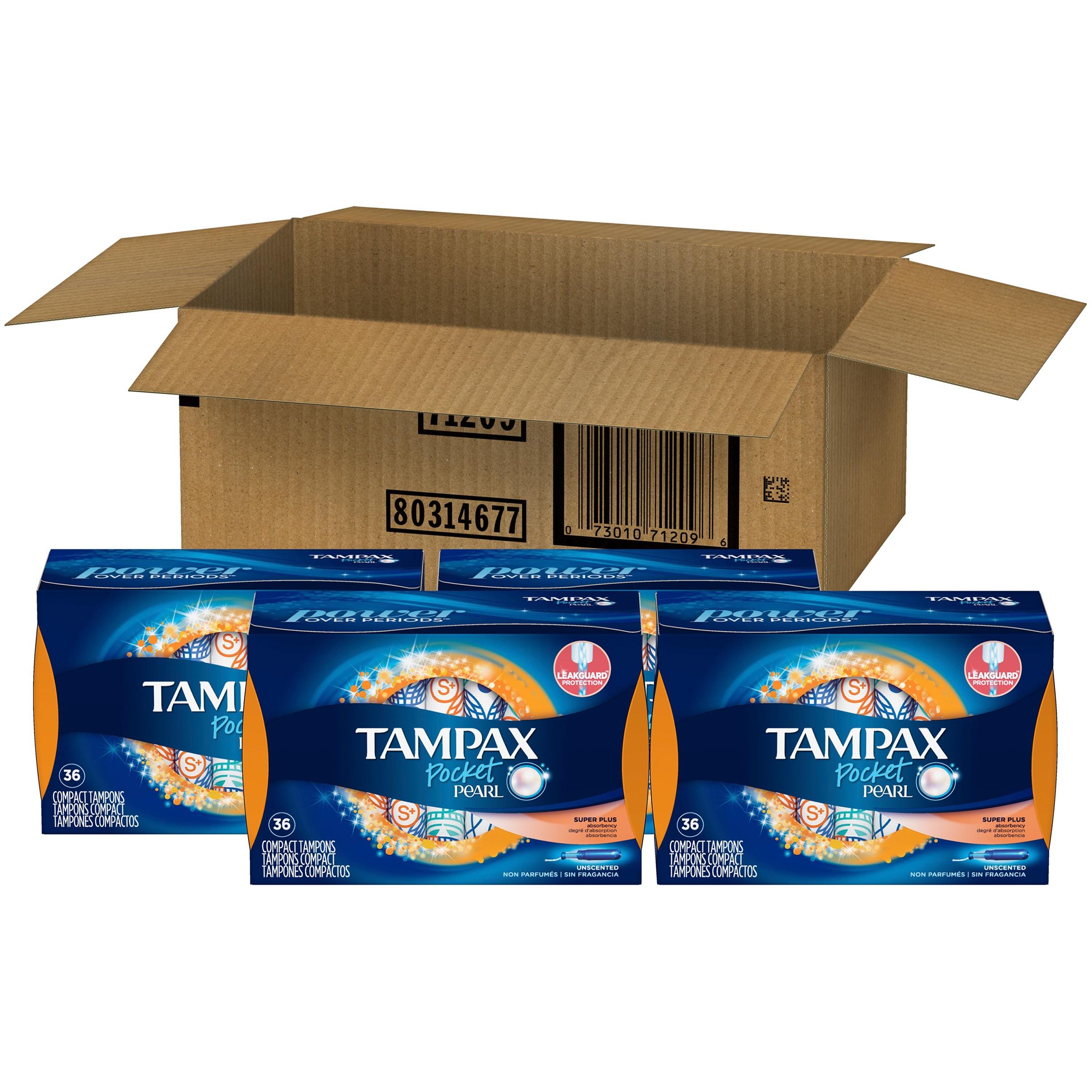 Tampax Pocket Pearl Super Plus Plastic Tampons, Unscented, 144 Ct