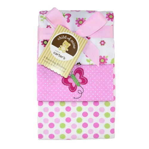 Child Of Mine Flannel Receiving Blankets, Girl, 3-Pack
