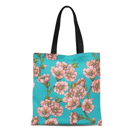 ASHLEIGH Canvas Tote Bag Blooming Almond Floral Border Vintage Spring Flowers of Apple Reusable Shoulder Grocery Shopping Bags (Left Hand Drain Almond)