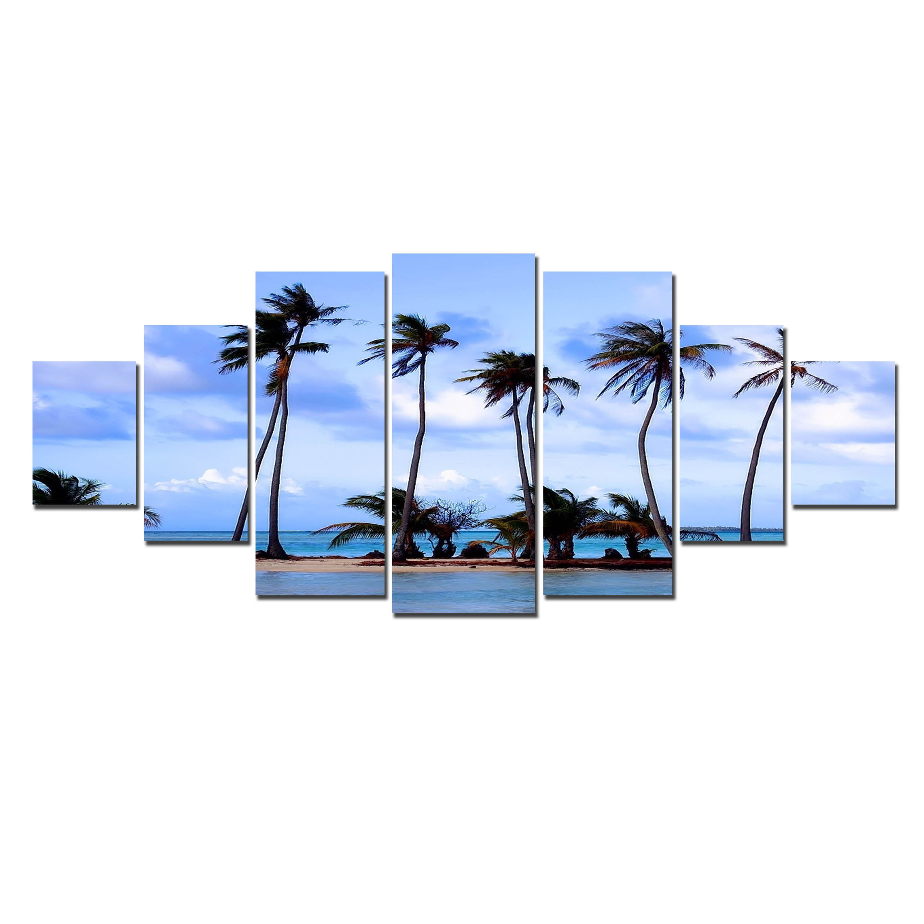 Startonight Huge Canvas Wall Art Palms On The Beach, USA Large Home Decor, Dual View Surprise Artwork Modern Framed Wall Art Set of 7 Panels Total 39.37 x 94.49 inch