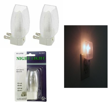 2 Night Light Energy Saving Automatic Sensor Wall Plug In