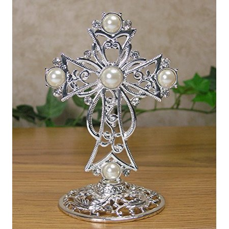 Baptism Table Centerpieces (Metal Cross Decoration Jeweled Accents Desktop Centerpiece Gift for Baptism In Loving Memory Sympathy Bereavement - 4)