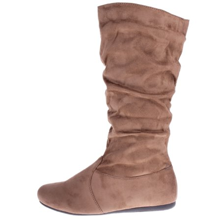 Women's Winter Fashion High Mid Calf Slouchy Flat Casual Dress Boot Taupe 7