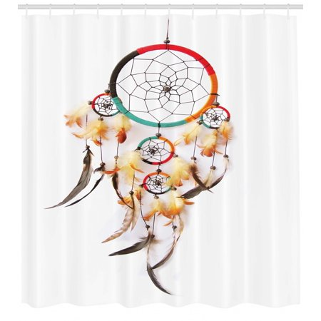 Native American Shower Curtain Ethnic Retro Style Bohemian Dreamcatcher Image Indigenous Culture Feather Fabric Bathroom Set With Hooks Multicolor