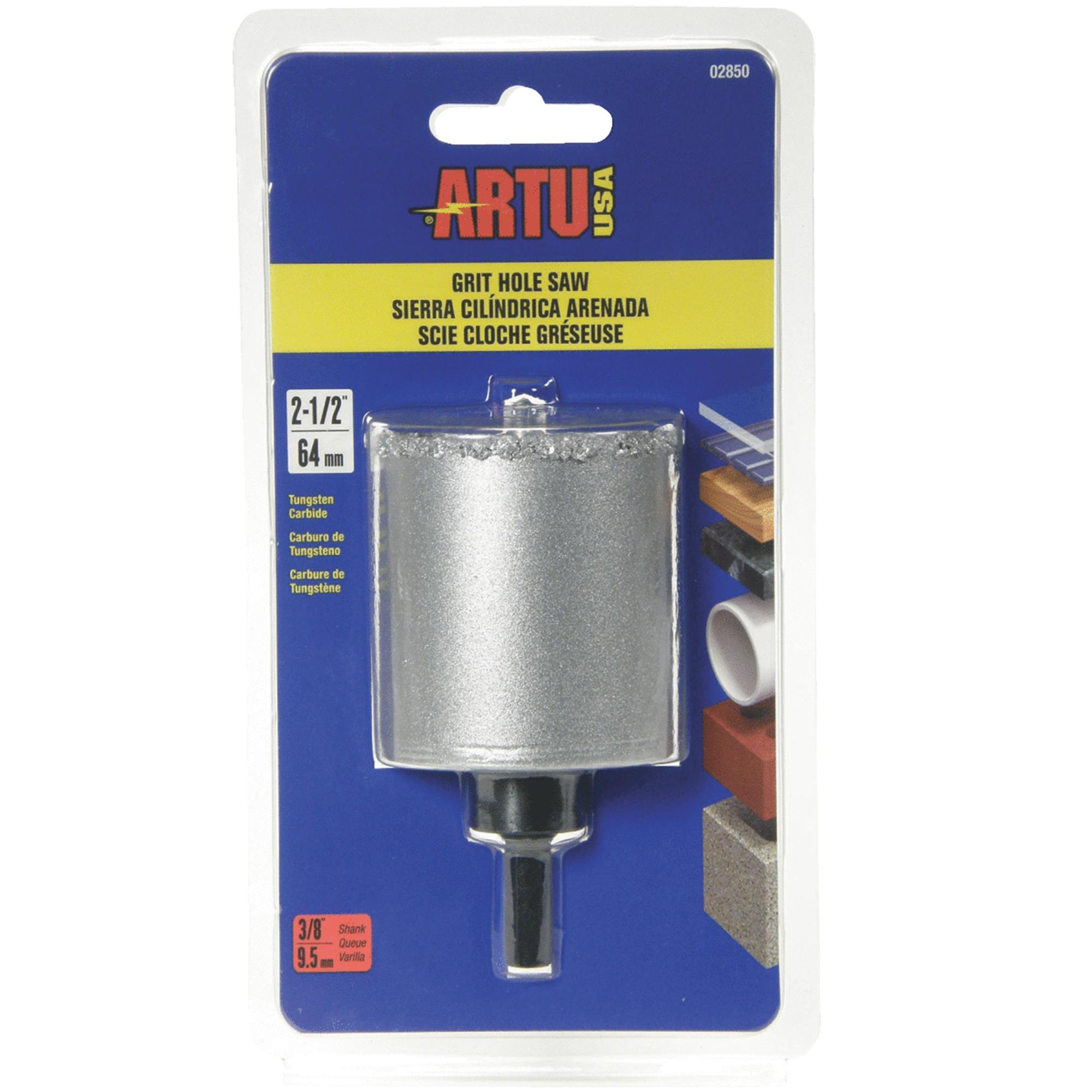 Artu 02850 Hole Saw With Arbor and Pilot Bit, 2-1/2 in Dia, 3/8 in, Tungsten Carbide