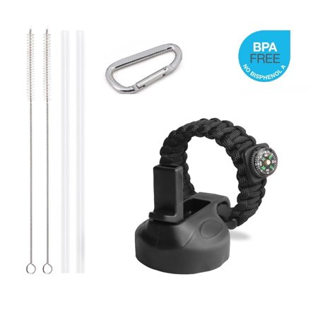 Water Straw - Straw Lid for Hydro Flask Wide Mouth Lid Water Bottle, OEM Replacement Cap with Paracord Handle, Bundle of Build-in Mini Compass Cord, 2 Straws, 2 Straw Brushes and Carabiner.