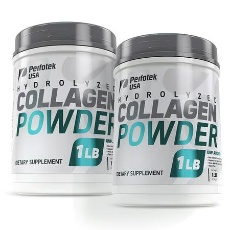 2 Pack Perfotek USA Collagen Peptides Hydrolyzed Powder 16 oz Non-GMO Grass-Fed Gluten-Free Kosher Unflavored - Easy To Mix Drink - Premium Beef Collagen Powder 1 pound
