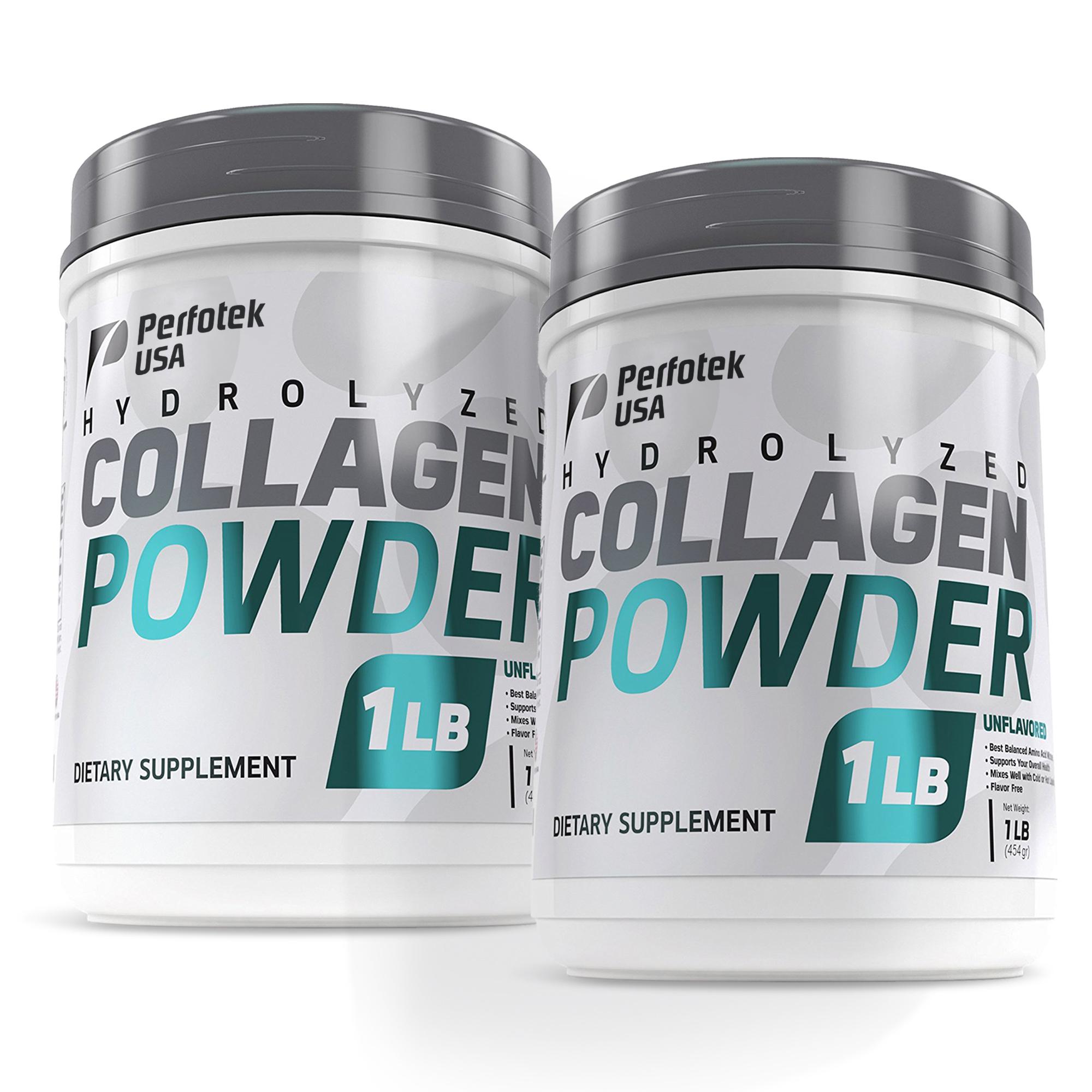 2 Pack Perfotek USA Collagen Peptides Hydrolyzed Powder 16 oz Non-GMO Grass-Fed Gluten-Free Kosher Unflavored - Easy To Mix Drink - Premium Beef Collagen Powder 1 pound each
