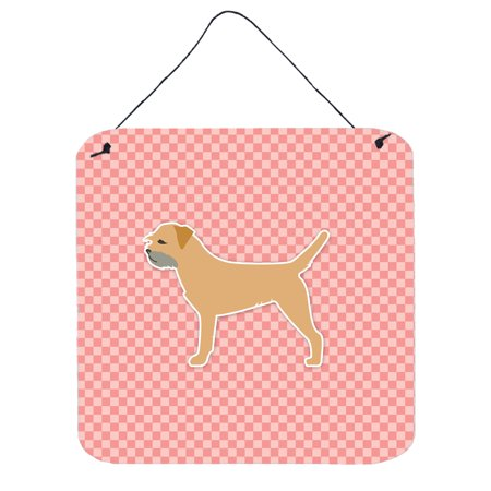 Border Terrier Checkerboard Pink Wall or Door Hanging Prints BB3589DS66