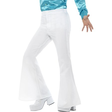 Mens 70s Groovy Disco Fever Flared White Pants (Bottoms Disco Pants)