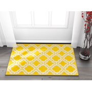"""Well Woven Small Rug Mat Doormat Modern Kids Room Kitchen Rug Calipso Yellow 1'8"""" x 2'7"""" Lattice Trellis Accent Area Rug Entry Way Bright Carpet Bathroom Soft Durable"""