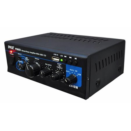 pyle ptau23 mini stereo power amplifier 2 x 40 watt with usb aux cd and mic inputs walmart. Black Bedroom Furniture Sets. Home Design Ideas