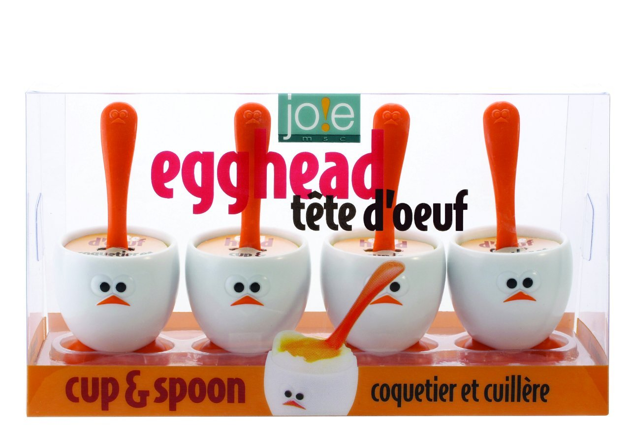 8 Piece Egghead Egg Cup and Spoon, Multicolor by