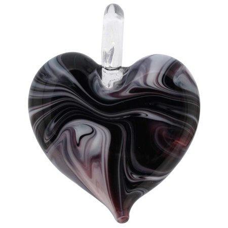 GlassOfVenice Murano Glass Venetian Marble Heart Pendant - Dark Purple Purple Murano Heart Pendant