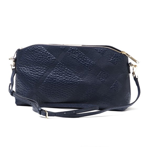 f291e9a353ff Burberry - BURBERRY Chichester Blue Check Pebbled Leather Clutch ...