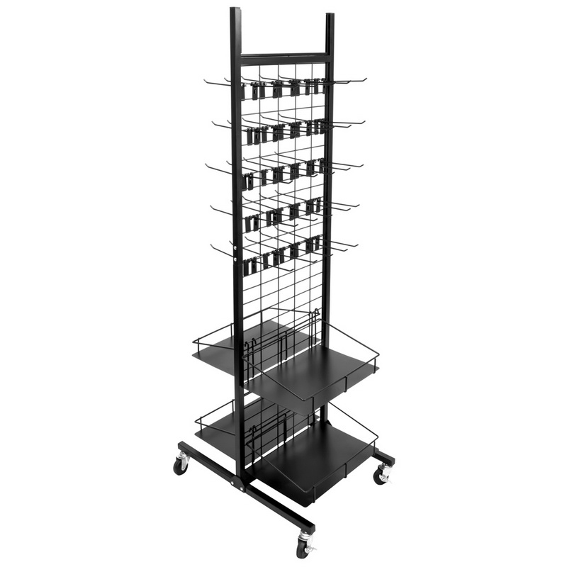 Brybelly Rolling Display Rack, 50 Hooks, 4 Shelves by Brybelly