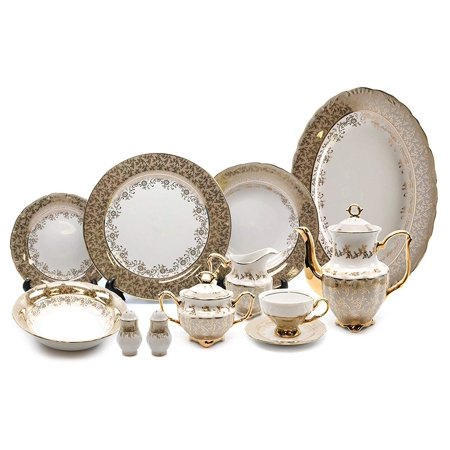 Gold Banded Bone China Tableware (Royalty Porcelain Brown and Gold Floral 57-pc Dinnerware Set