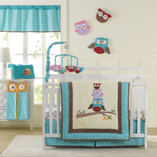 Laugh, Giggle & Smile Spotty Owls 10 Piece Crib Bedding Set