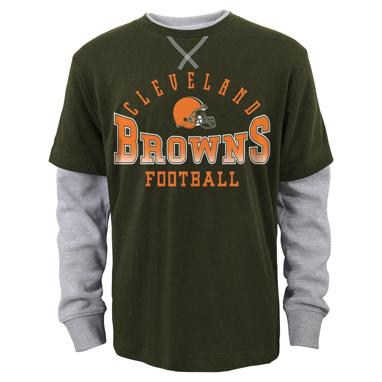 """Cleveland Browns Youth NFL """"Arched Fade"""" L/S Faux Layer Thermal Shirt"""