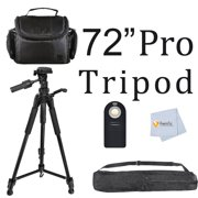 72-Inch Heavy Duty Series Photo Video Tripod 3 Way Fluid Pan-Head Bi Directional with Bubble Level I