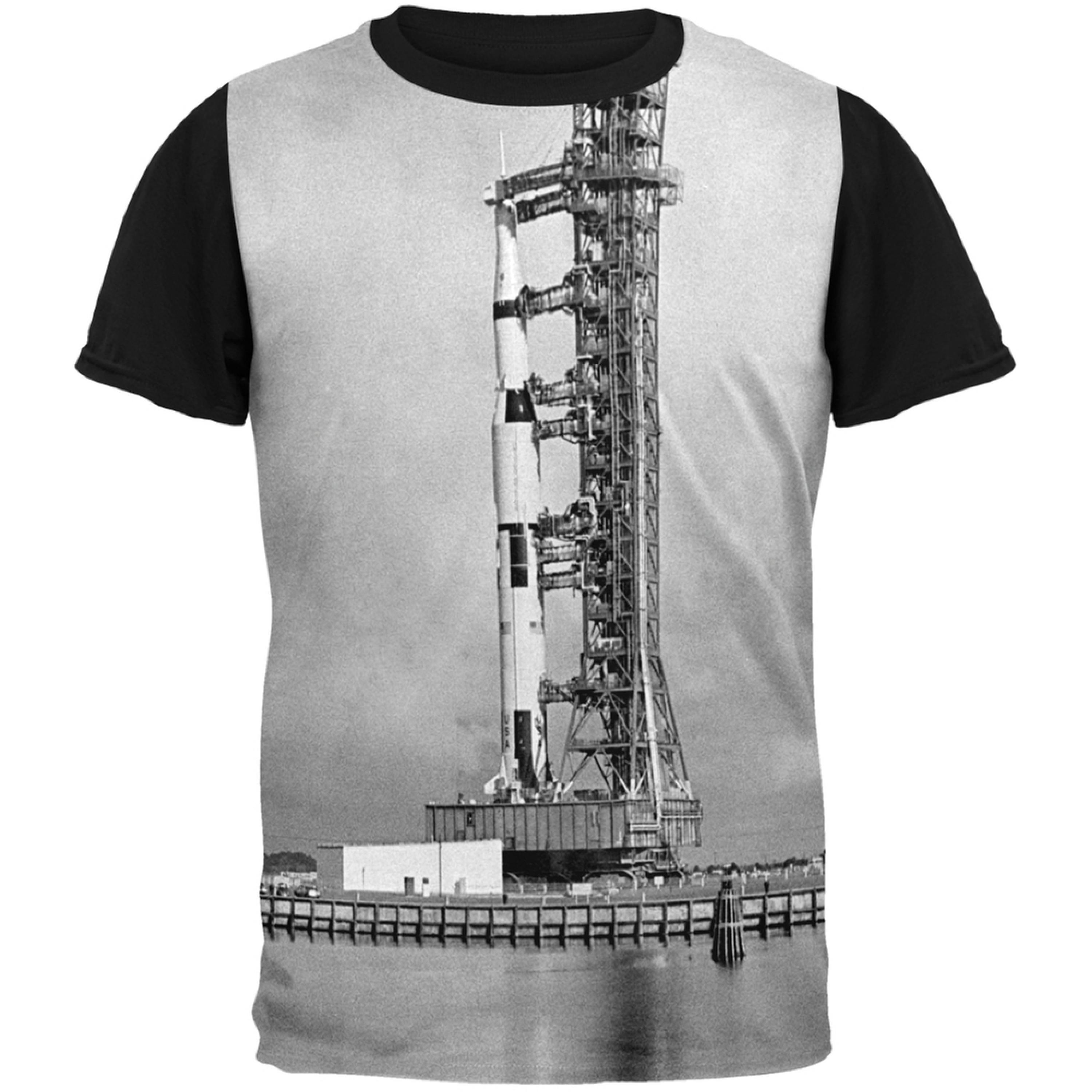 Apollo 8 Saturn 5 Rocket Black and White Adult Black Back T-Shirt