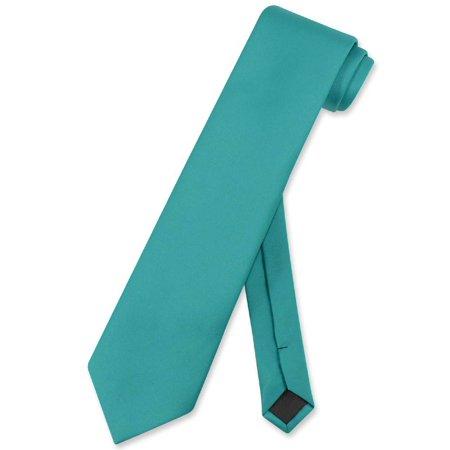 vesuvio napoli necktie solid extra long teal color men's xl neck tie