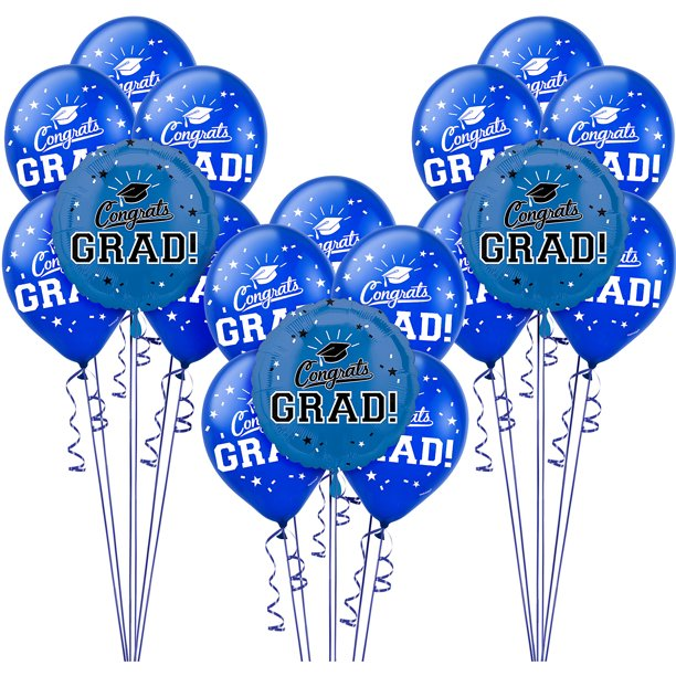 Party City Congrats Grad Graduation Balloon Kit, Includes Foil and Latex Balloons, Plus Weights and Ribbon