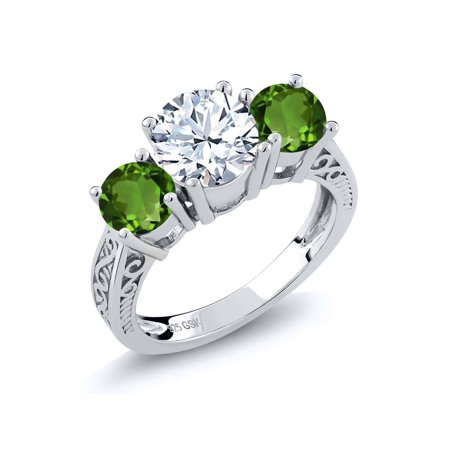 2.40 Ct Round White Topaz Green Chrome Diopside 925 Sterling Silver 3-Stone Ring - image 4 de 4