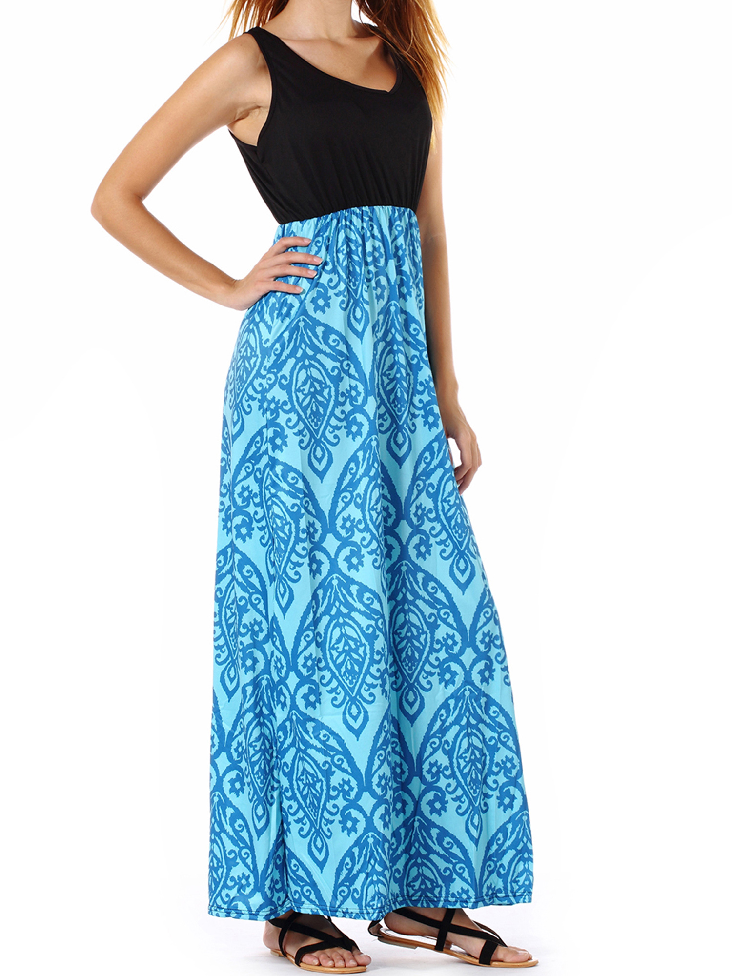 Pregnant Maternity Boho Printed Maxi Dress Constrast Color Blocking
