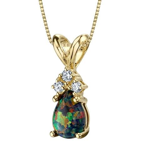14 Karat Yellow Gold Pear Shape Created Black Opal Diamond Pendant Diamond Pear Opal Pendant