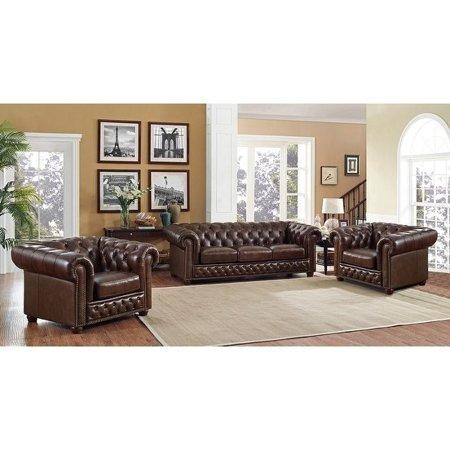 Admirable Coja Yuma Brown Leather Tufted Sofa And Two Chairs Set Frankydiablos Diy Chair Ideas Frankydiabloscom