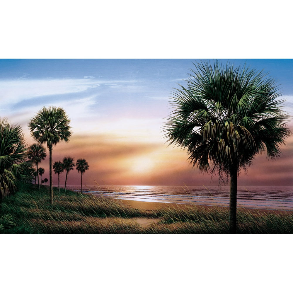 Beach Palm Trees Giant Prepasted Wallpaper Accent Mural