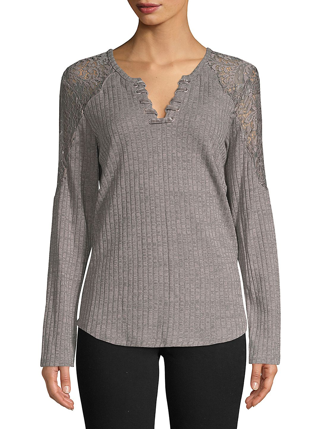 Textured Lace-Trimmed Top