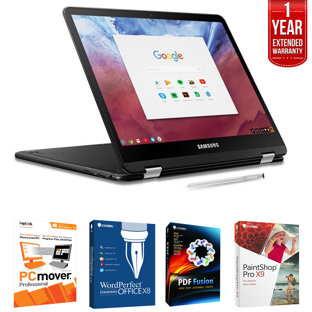 "Samsung Chromebook Pro 12.3"" 2-in-1 Tablet/Notebook with Built-in Pen (XE510C24-K01US) with Software + Extended Warranty Bundle"