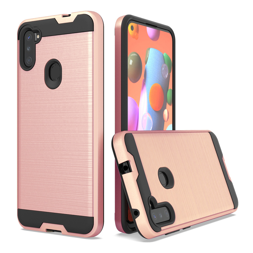 For Samsung Galaxy A11 Hybrid Metal Brushed Shockproof Tough Case Cover Rose Gold - Walmart.com