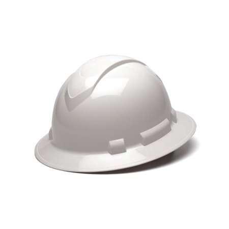 Ridgeline White Full Brim Hard Hat, Four Point Adjustable Ratchet Suspension