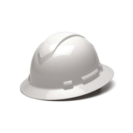 - Ridgeline White Full Brim Hard Hat, Four Point Adjustable Ratchet Suspension